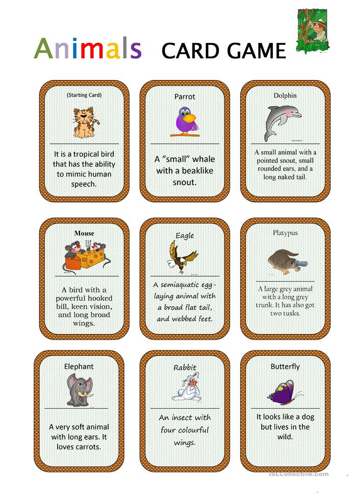 Animals Card Game - ESL worksheets