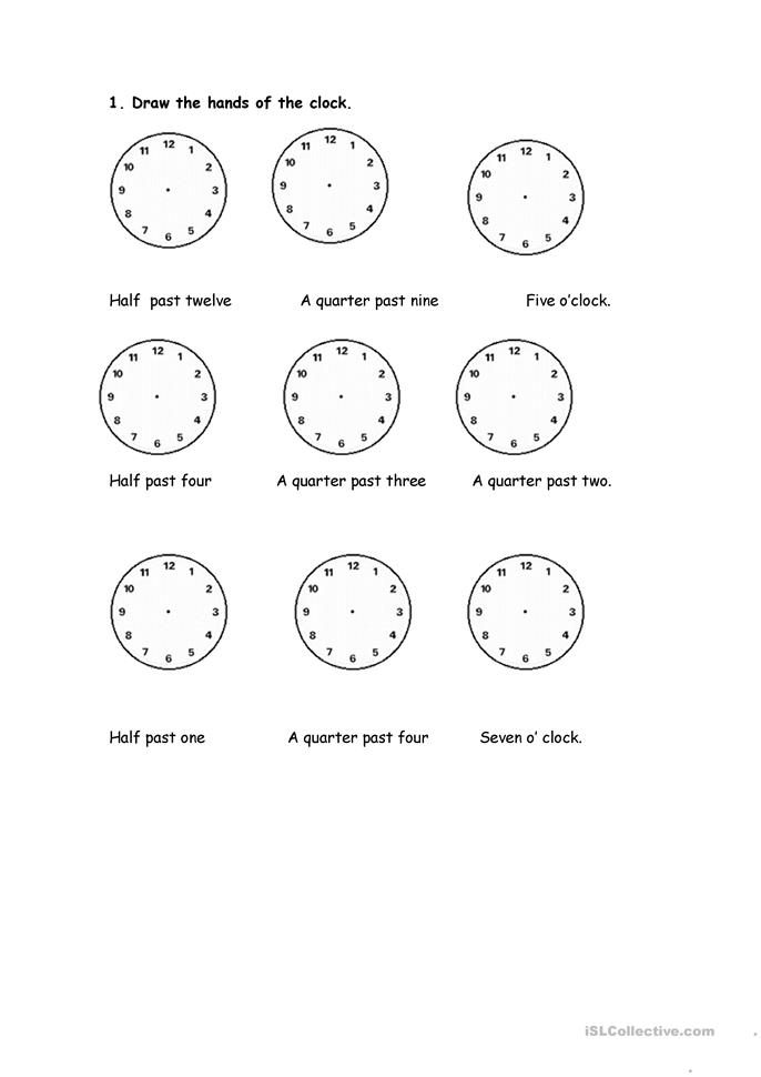 Clock Hands Drawing Draw The Hands of The Clocks