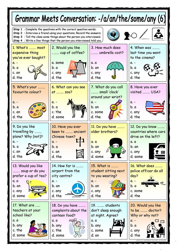 Grammar Meets Conversation: A, an, the, some, any (6) - Asking ques... - ESL worksheets