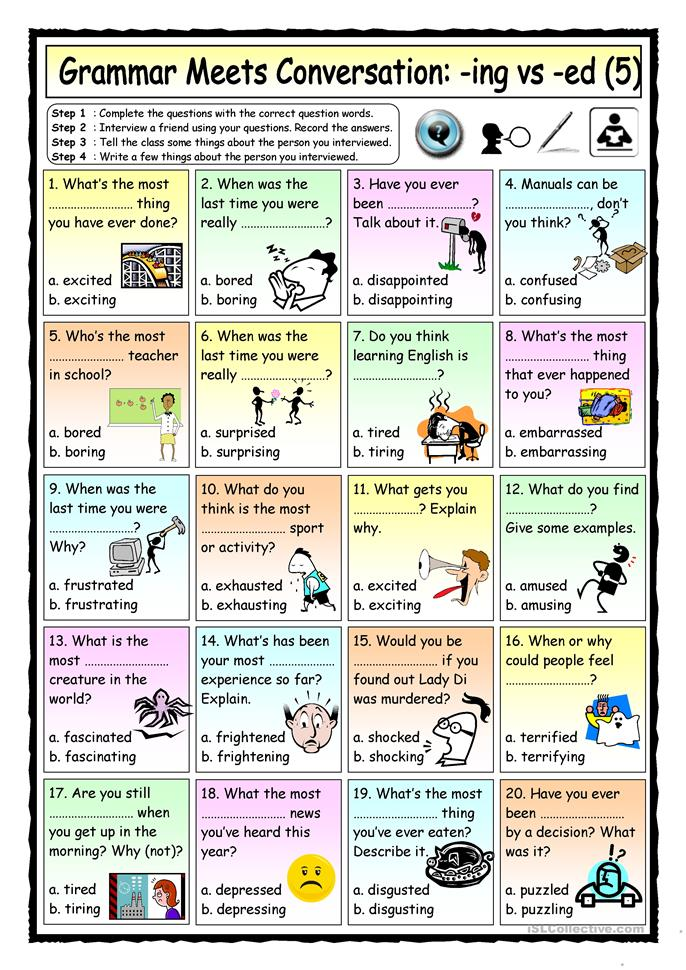 Grammar Meets Conversation: -ING vs -ED Adjectives (5) - Asking abo... - ESL worksheets