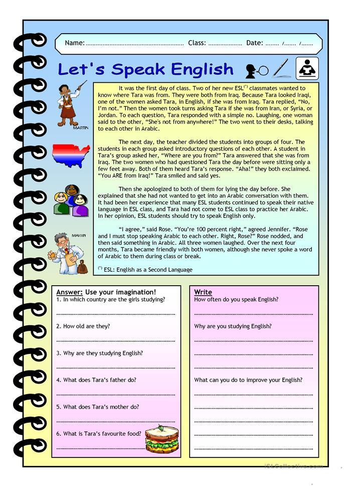 English Worksheets For Teachers : Imaginative reading comprehension let´s speak english