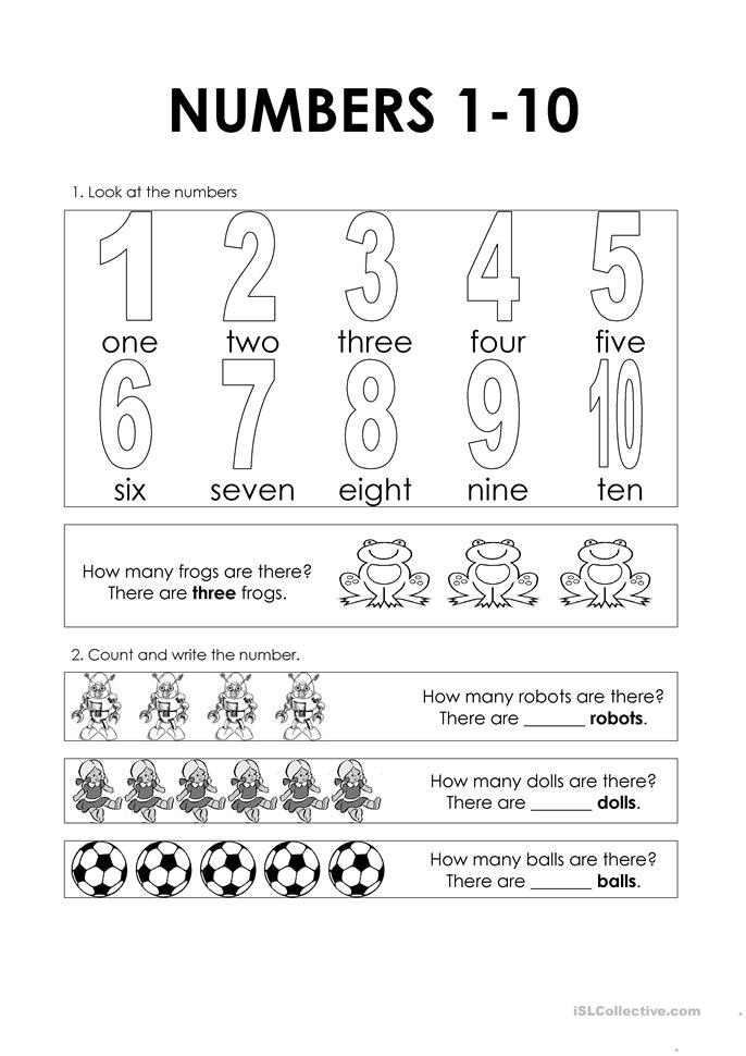 Numbers 1-10 - ESL worksheets