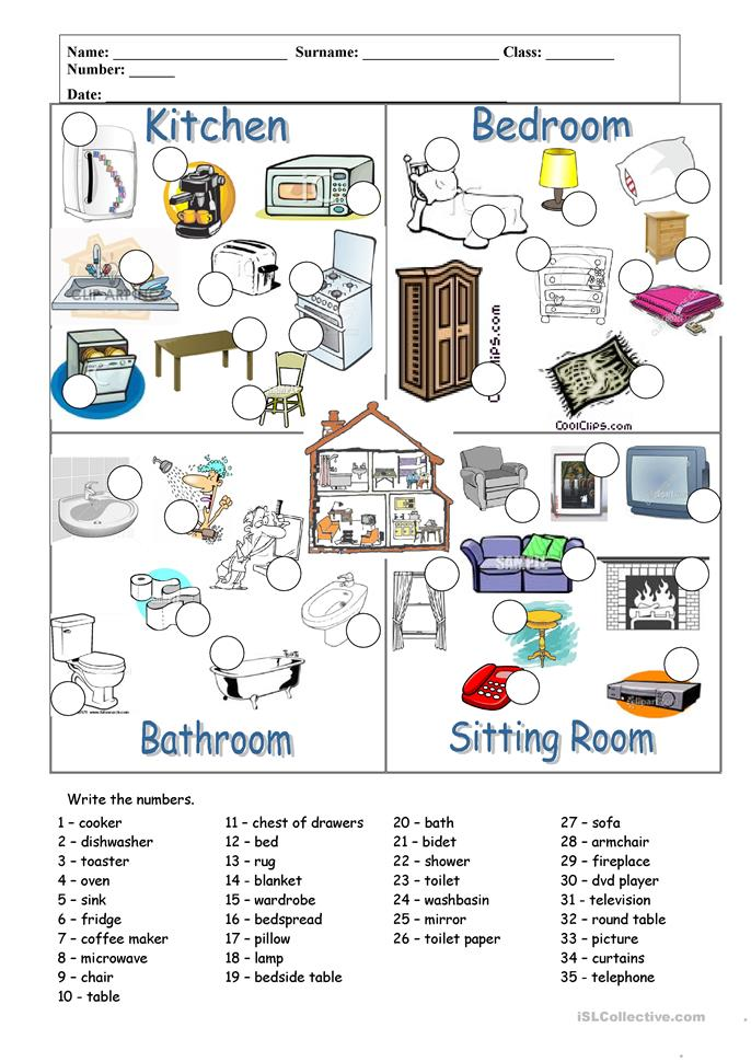 rooms and furniture worksheet free esl printable