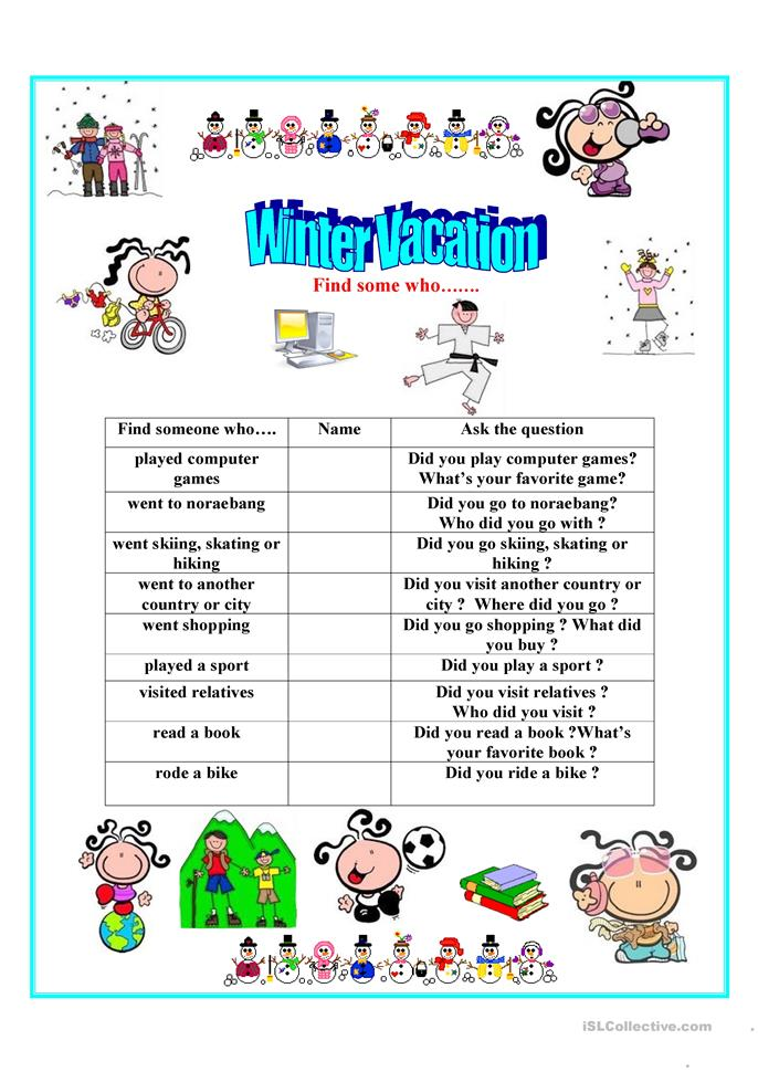 Winter Vacation Find Someone Who worksheet - Free ESL ...