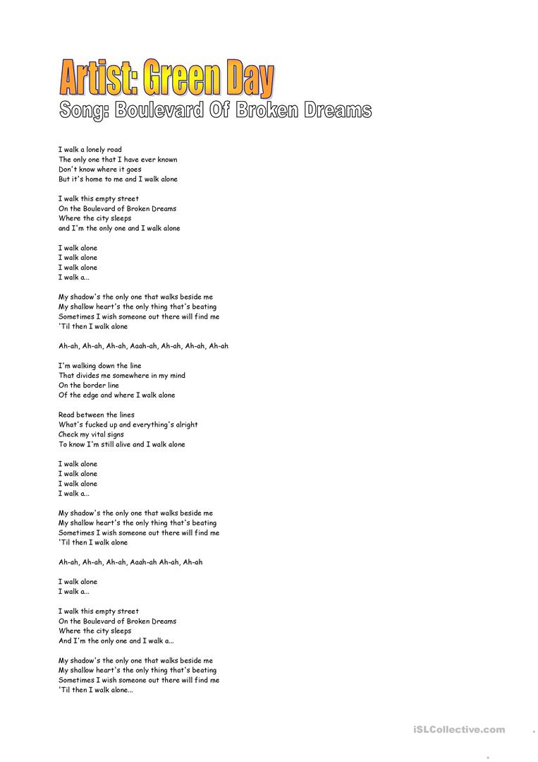Boulevard of broken dreams lyrics