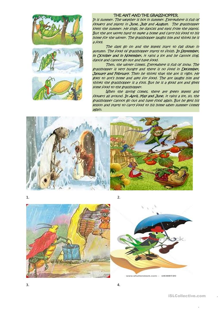 image about The Ant and the Grasshopper Story Printable identify weeks, the ant and the grhopper - English ESL Worksheets