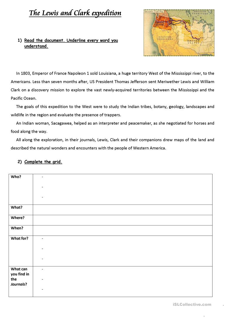 Worksheets Lewis And Clark Worksheet the lewis and clark expedition worksheet free esl printable full screen