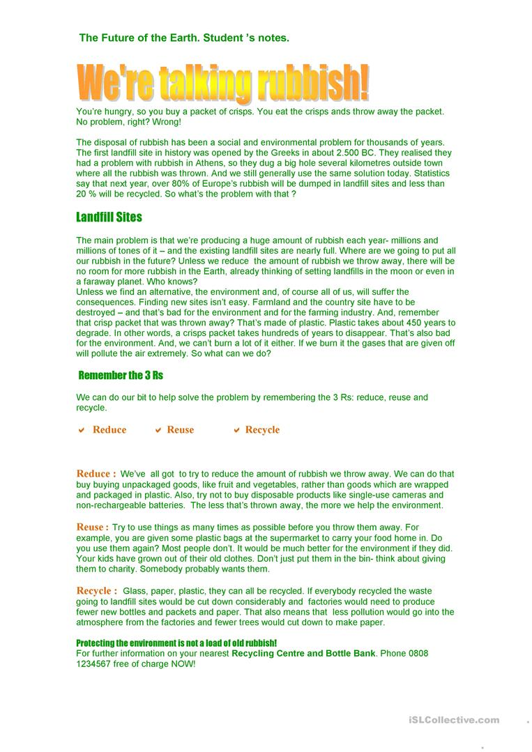 - We Are Talking Rubbish - English ESL Worksheets For Distance