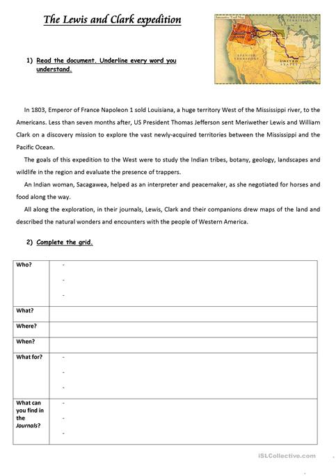 The Lewis And Clark Expedition Worksheet Free Esl Printable
