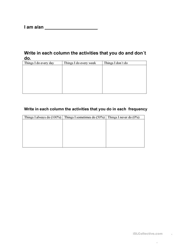 Activities and frequency adverbs