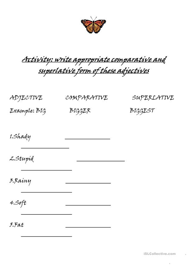 Adjectives superlatives and comparatives