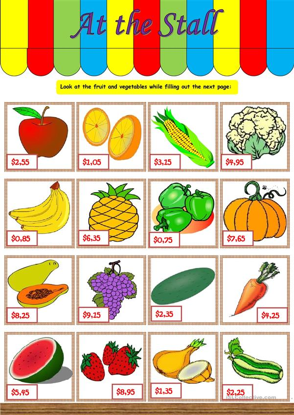 At the stall – vocabulary & conversation (fruit, vegetables, numbers, prices) [written and oral tasks] ((2 pages)) ***editable