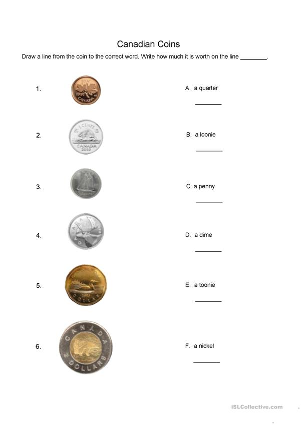 Canadian coins matching worksheet