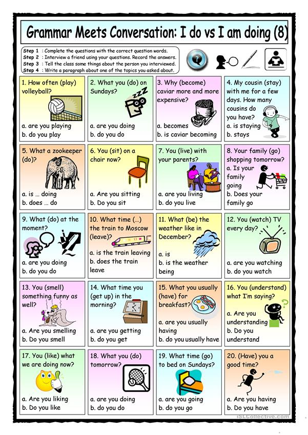 Grammar Meets Conversation: I do vs I´m doing (8) - Asking for Information