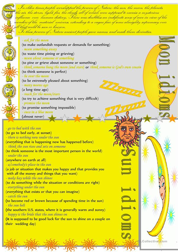Moon and sun idioms