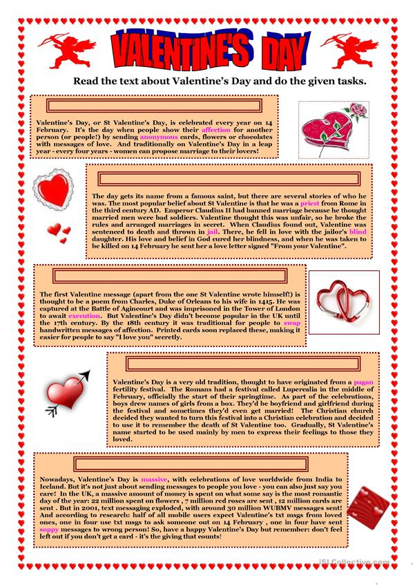 Valentine's Day (2)- text and 6 activities