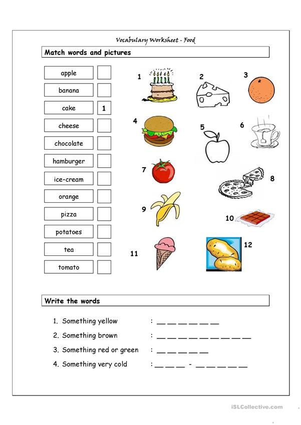Vocabulary Matching Worksheet - Food