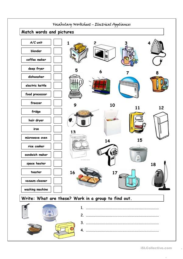 Vocabulary Matching Worksheet - HOME APPLIANCES