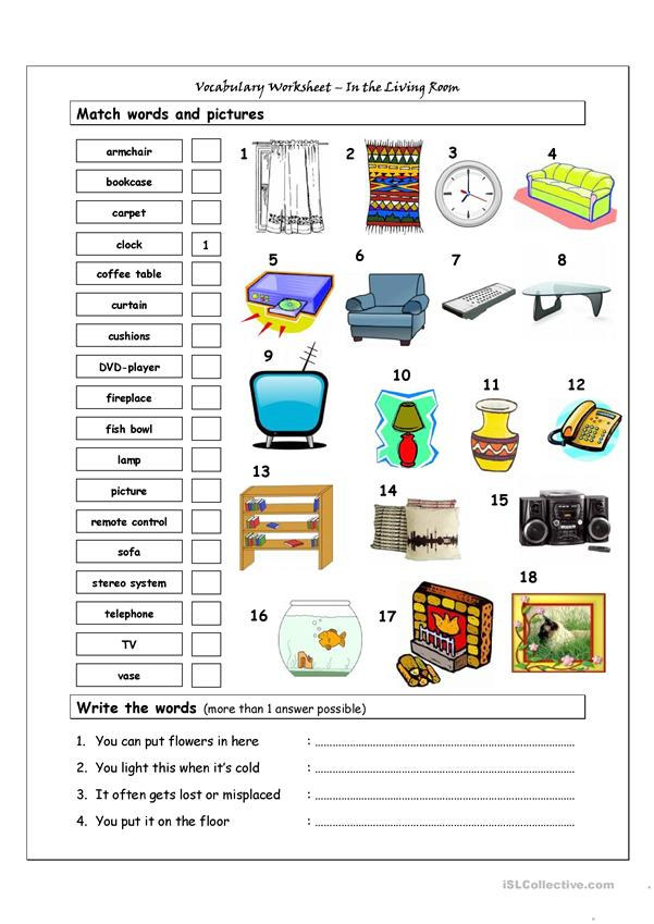 Vocabulary Matching Worksheet - In the living room