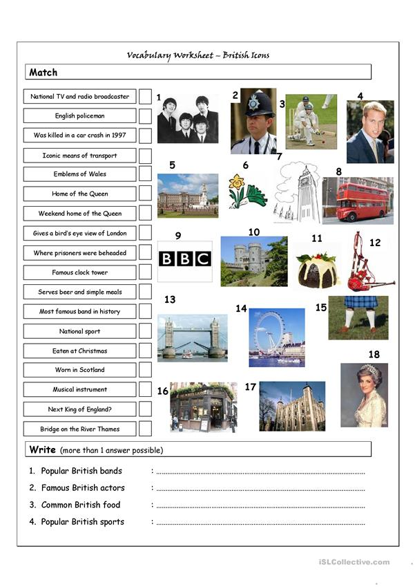 Vocabulary Matching Worksheet & Quiz - BRITISH ICONS & LANDMARKS
