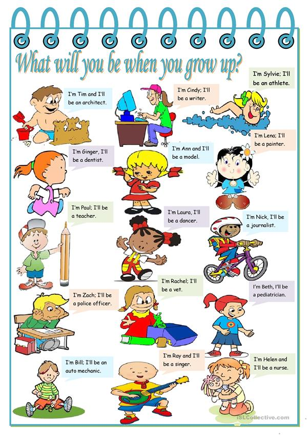 What will you be when you grow up? – jobs, present simple and future (will) [2 tasks] ((2 pages)) ***editable