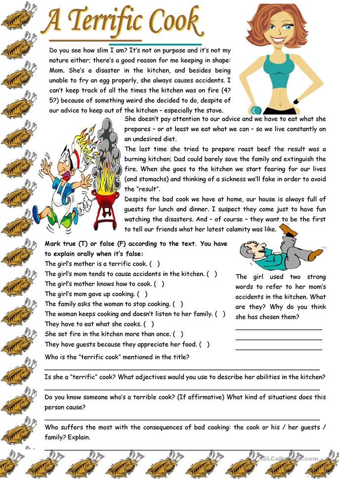 A terrific cook – reading comprehension + grammar (-ing after expre... - ESL worksheets