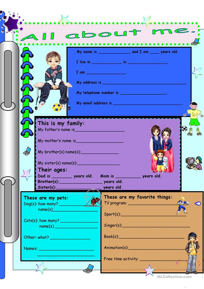 All About Me (for boys) - ESL worksheets