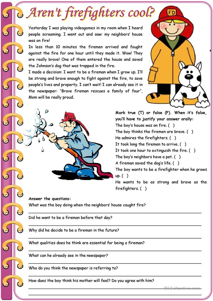 Aren't firefighters cool? – reading comprehension + grammar (compar... - ESL worksheets