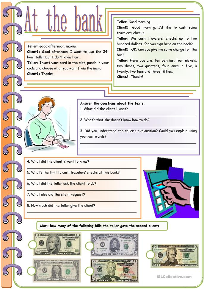 At the bank – vocabulary, comprehension and grammar (American money... - ESL worksheets
