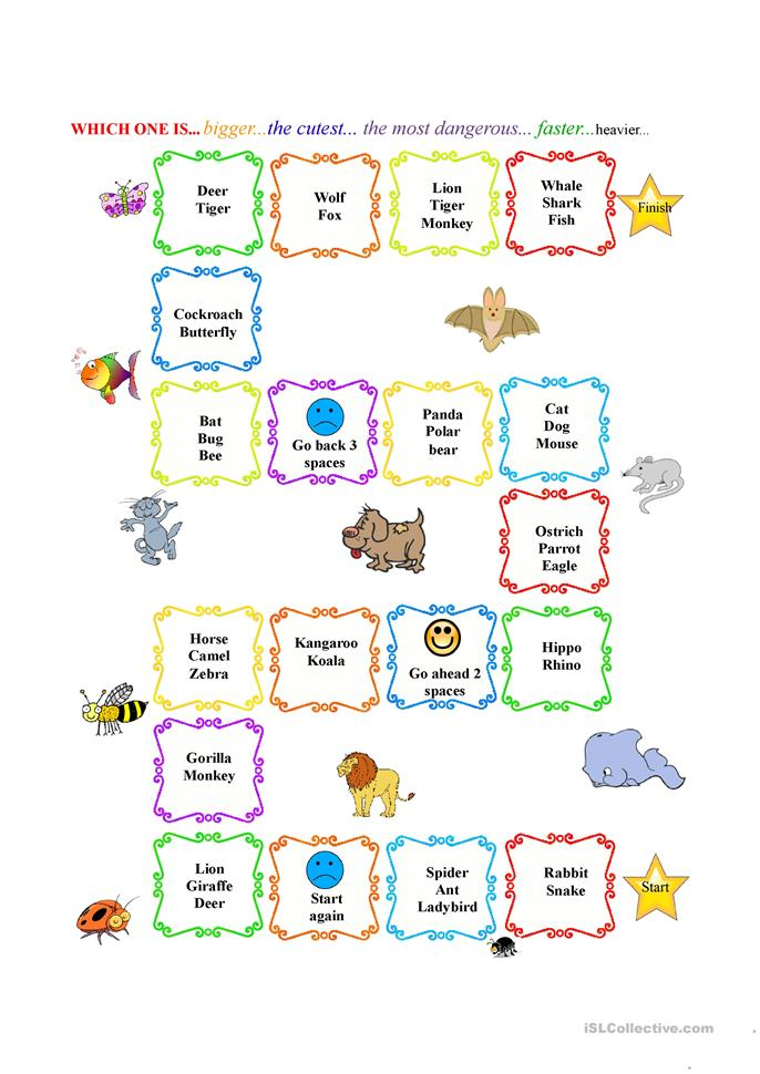 Compare animals - ESL worksheets