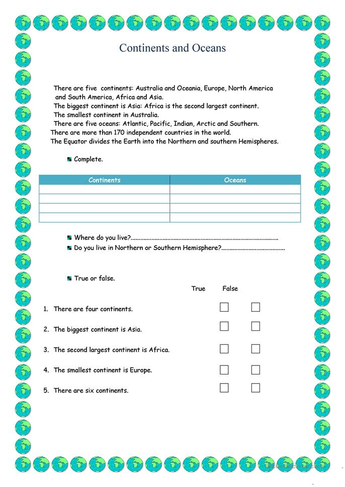 All Worksheets Continents And Oceans Worksheets Free Printable – Continent Worksheet