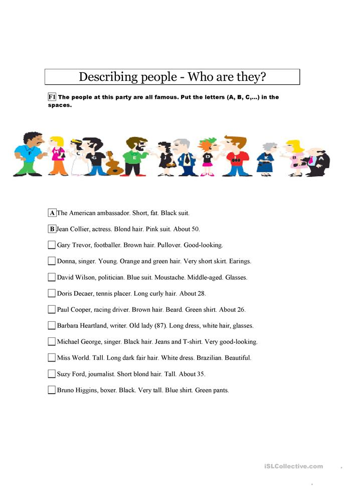 big_3557_describing_famous_people_1 Worksheet Clothes And Colours on preschool matching, for different seasons, review kids, for kids, crossword puzzle,