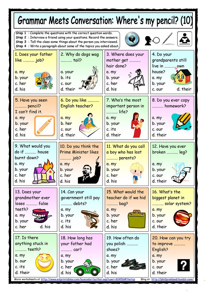 Grammar Meets Conversation 10 - Possessive Adjectives (10... - ESL worksheets