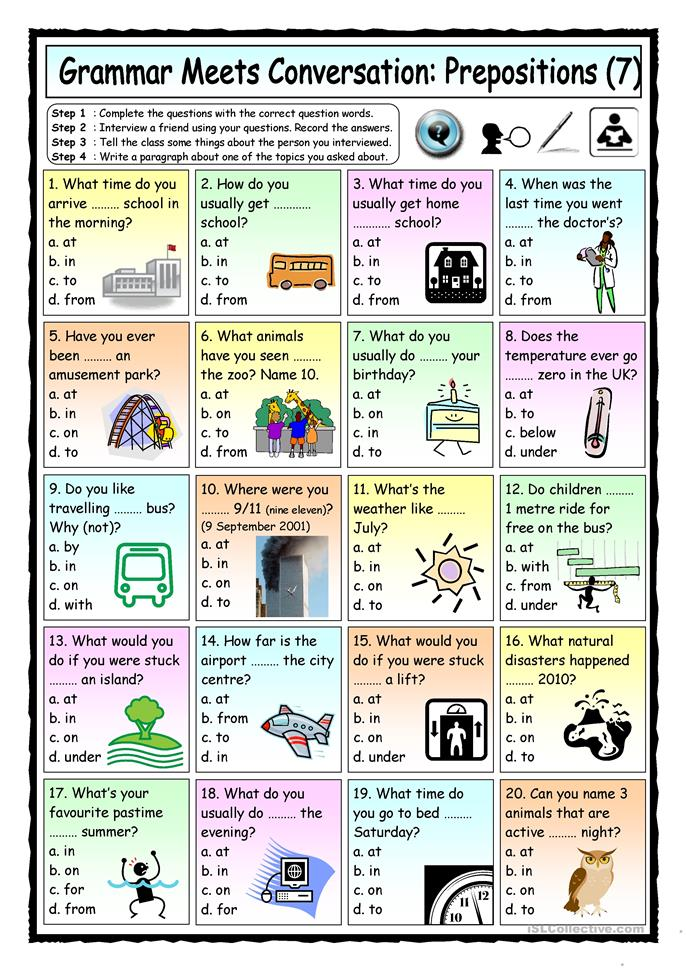 grammar meets conversation prepositions 7 asking questions worksheet free esl printable. Black Bedroom Furniture Sets. Home Design Ideas