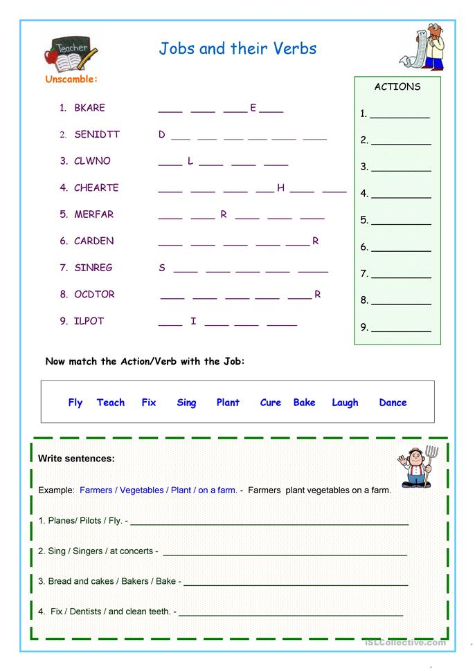 Jobs and Their Verbs - ESL worksheets