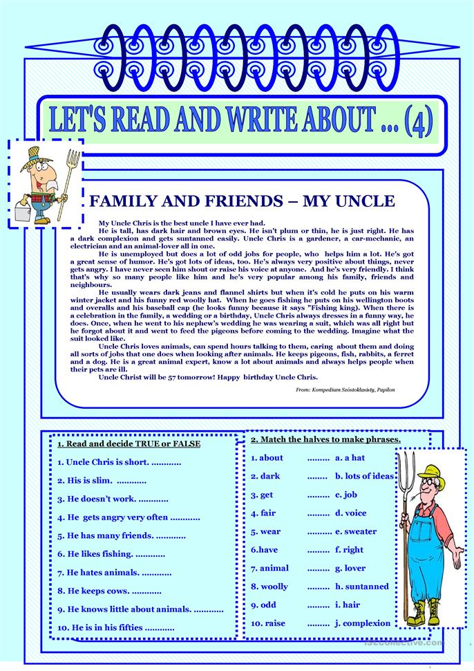 Let´s read and write about ...(4) - Family and friends - My uncle. - ESL worksheets