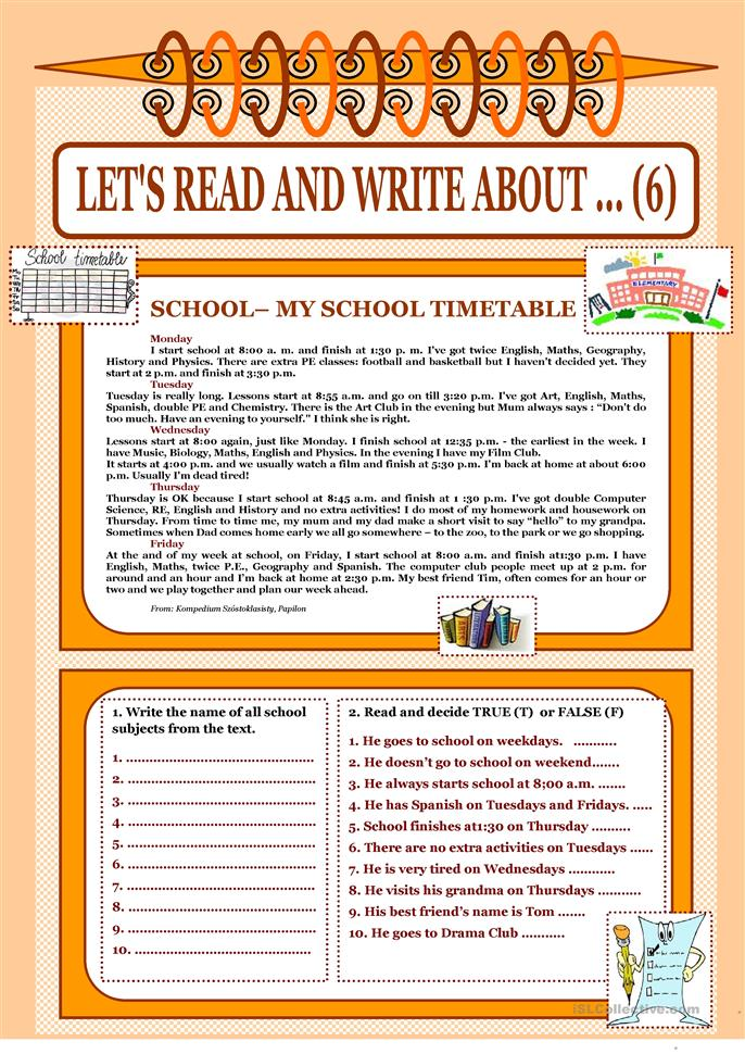 Let's read and write about ... (6) - My School Timetable - ESL worksheets