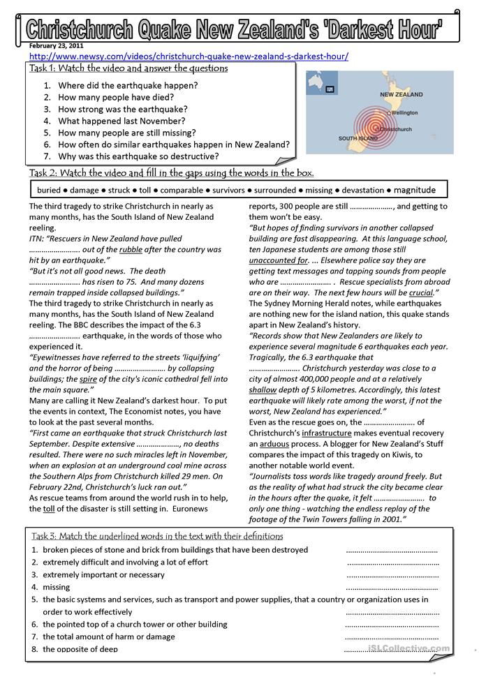 New Zealand earthquake - ESL worksheets