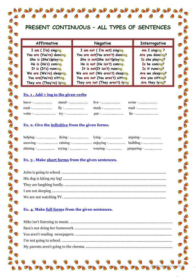 Present Continuous-3 pages - ESL worksheets