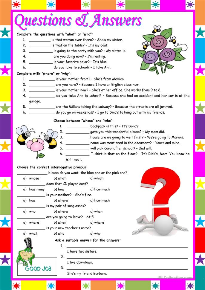 "Questions & Answers – exercises with ""who / what / whose ... - ESL worksheets"