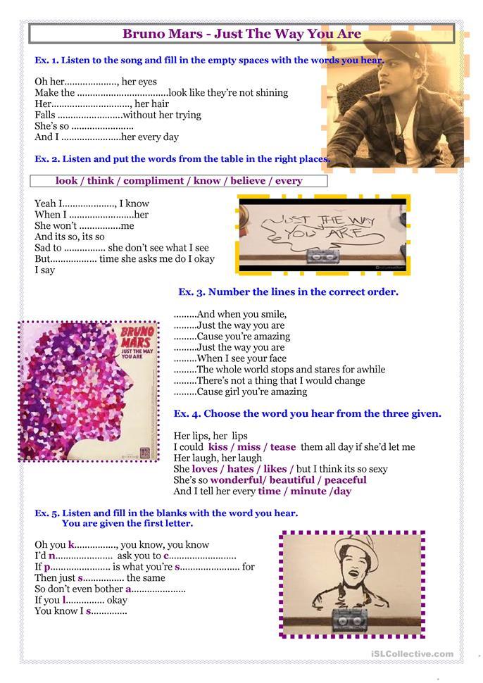 Song - Bruno Mars - Just The Way You Are - ESL worksheets