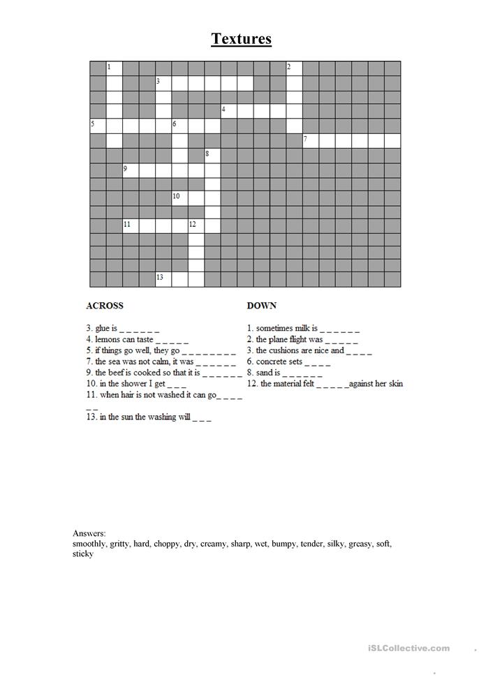 textures crossword worksheet free esl printable worksheets made by teachers. Black Bedroom Furniture Sets. Home Design Ideas