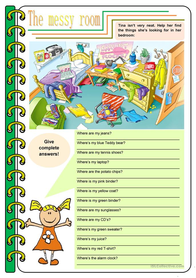 The messy room – there be, prepositions, to be [4 tasks] ... - ESL worksheets