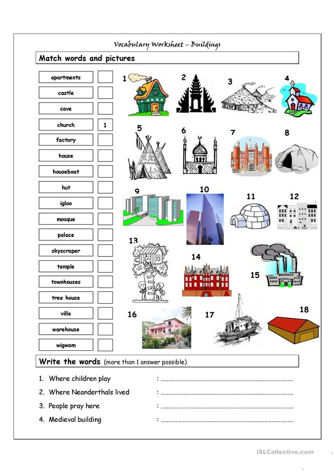 Vocabulary Matching Worksheet - Buildings - ESL worksheets