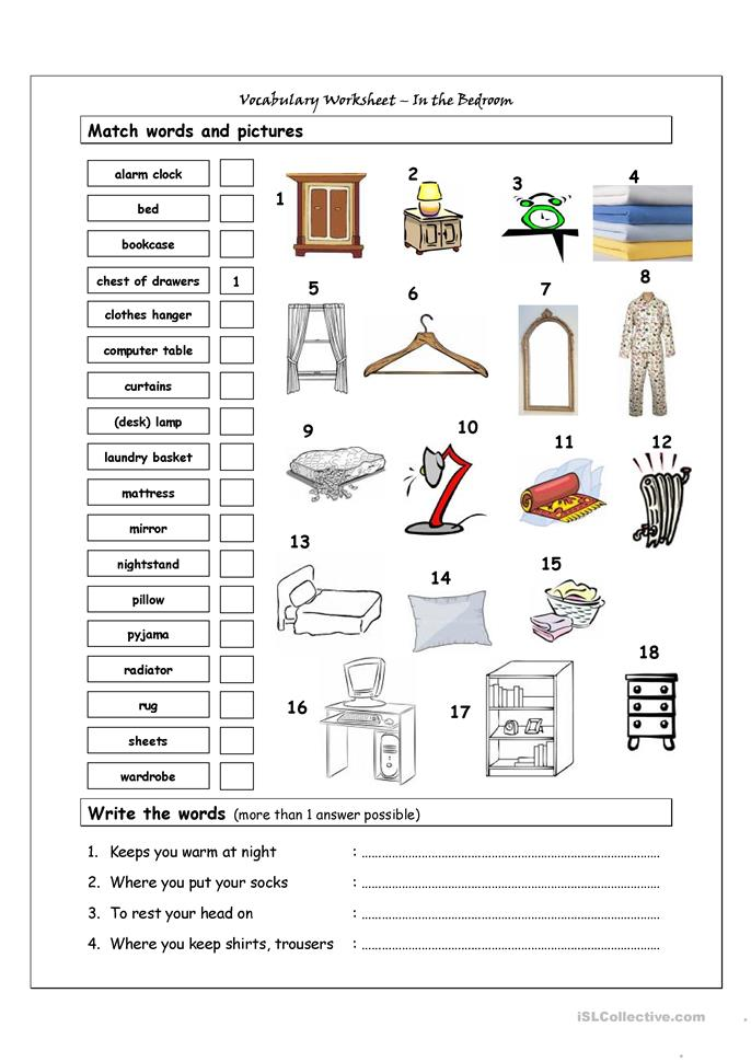 Vocabulary Matching Worksheet - In the bedroom - ESL worksheets