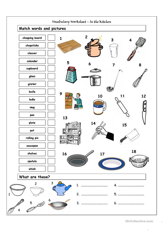 Vocabulary Matching Worksheet - In the kitchen - ESL worksheets