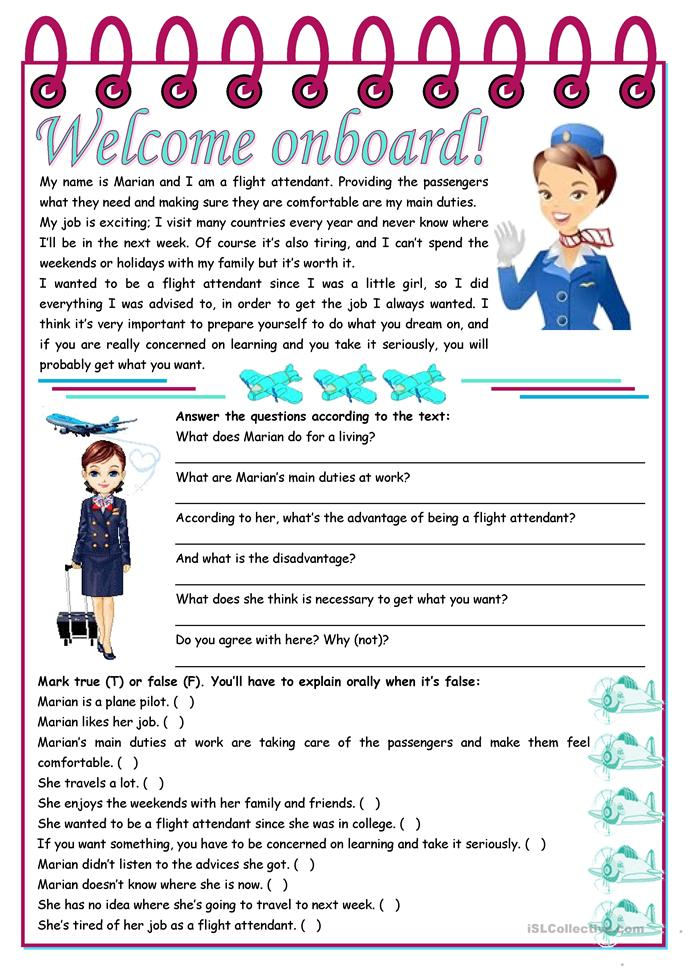 Welcome onboard! – reading comprehension + grammar (the use of the ... - ESL worksheets