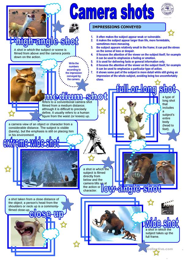 Cinema Camera Shots Worksheet Free Esl Printable