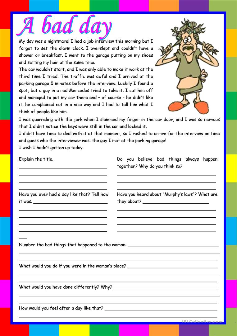 Uncategorized Esl Reading Comprehension Worksheets invictus worksheet while watching free esl a bad day reading comprehension writing conversation 5 tasks