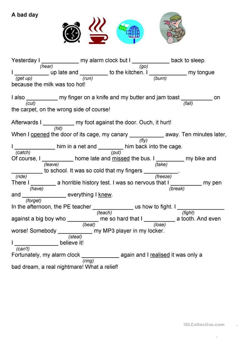 Worksheets For The Pearl : A lucky day bad worksheet free esl printable